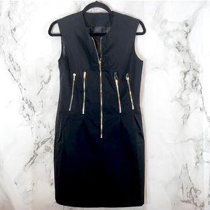 TOV Holy Black Zipper Sheath Dress F29